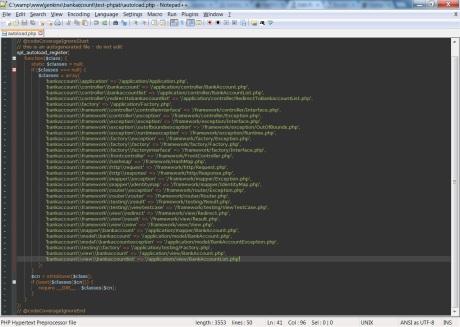 screenshot of a Classmap file